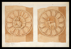 Two drawings of sculpture on the stupa rail at Bodhgaya (Bihar), made by Kittoe during his investigation of the site. January 1847. 6